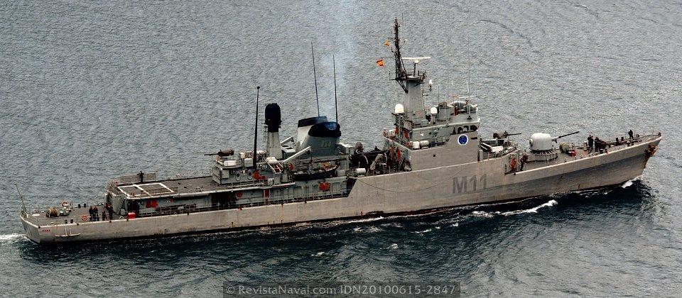 Buque de mando de la Fuerza de Medidas contra minas, M-11 «Diana», antigua corbeta del mismo nombre (Foto: Xoán Porto/Revista Naval)