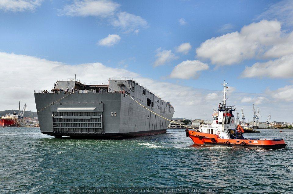 El remolcador «Hocho» tirando por la aleta de estribor del «Adelaide» (Foto: Rodrigo Díaz Castro / Revista Naval)