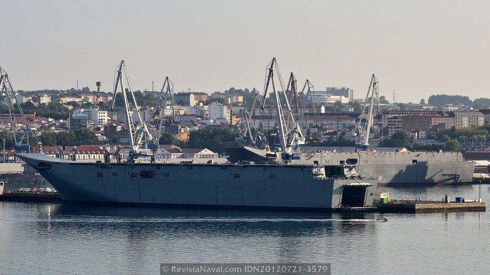 Los futuros LHD Canberra 02 y Adelaide 01, en los muelles de armamento de la empresa Navantia en Ferrol, España (Foto: Revista Naval)