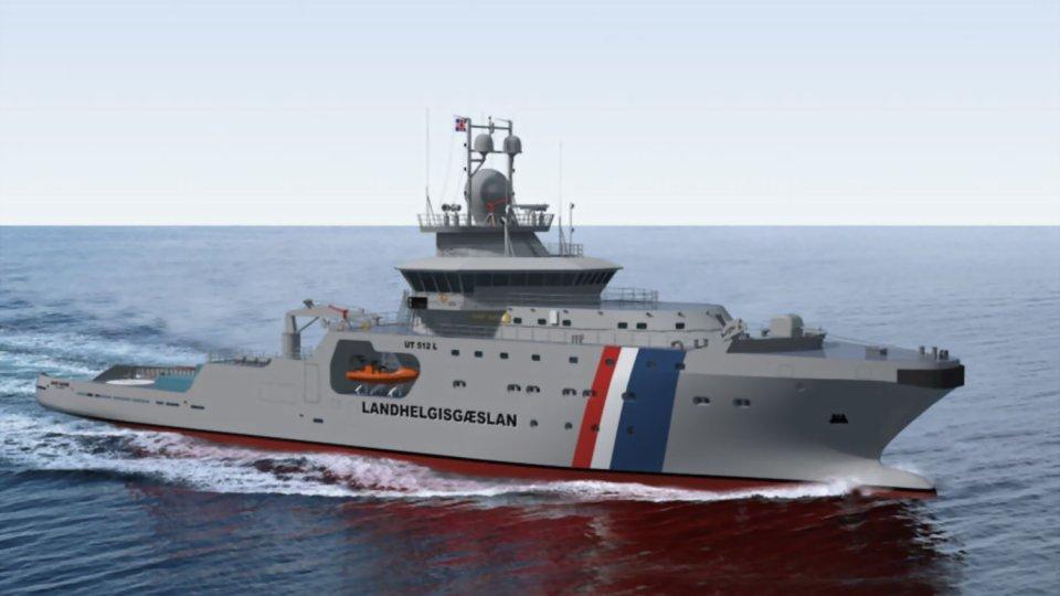 Imagen sintética del nuevo patrullero de altura de la Marina de Islandia, «Thor», construido en los astilleros chilenos ASMAR (Foto: Rolls Royce)
