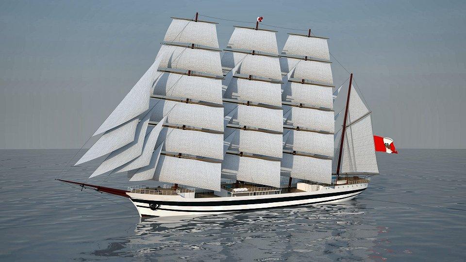 Imagen sintética del buque escuela «Unión» (Foto: vía Oliver Design)