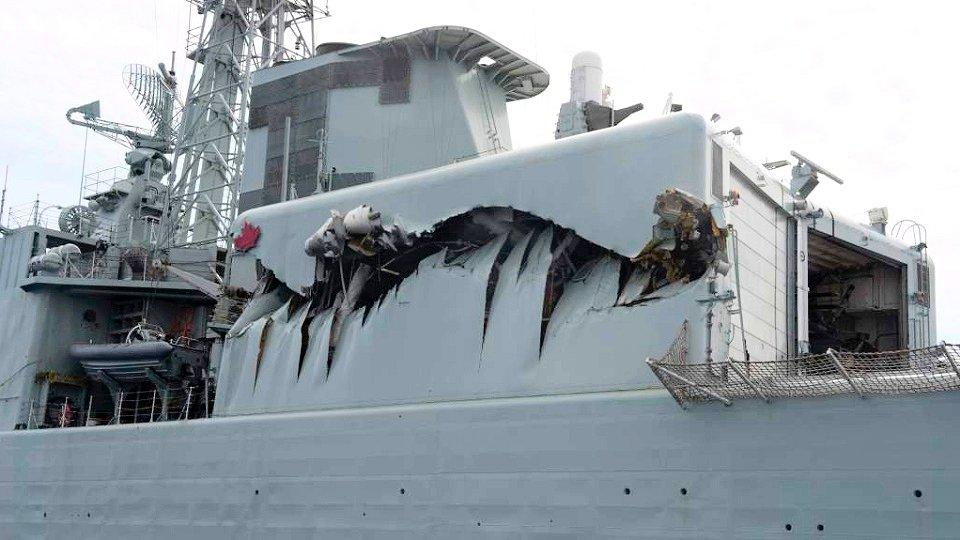 La superestructura del hangar del destructor HMCS «Algonquin» (Foto: Departamento de Defensa Nacional de Canadá)