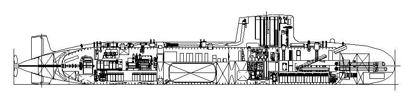 Especulación sobre el S-80 con el alargamiento que supone el artículo (collage de Colectivo Lontra sobre un esquema primitivo de Navantia datado en 2004)