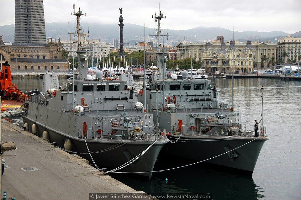 Los cazaminas Turia y Tajo hicieron presencia naval en el puerto de Barcelona, desarrollando como viene siendo tradicional, bautismos de mar con grupos de escolares catalanes (Foto: Javier Sánchez García/Revista Naval)