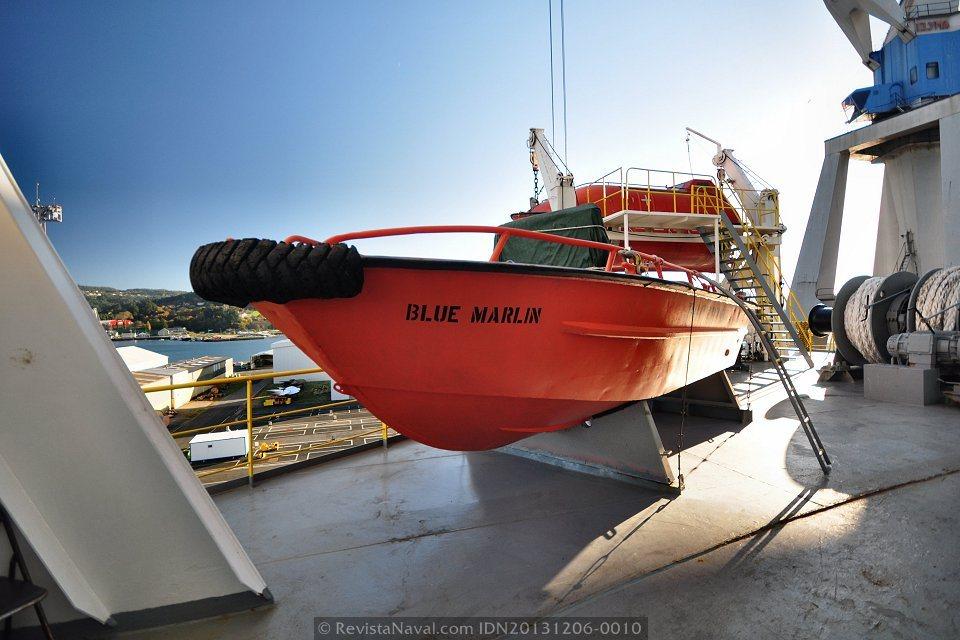Detalle de una de las embarcaciones auxiliares a bordo del Blue Marlin (Foto: Rodrigo Díaz Castro/Revista Naval)