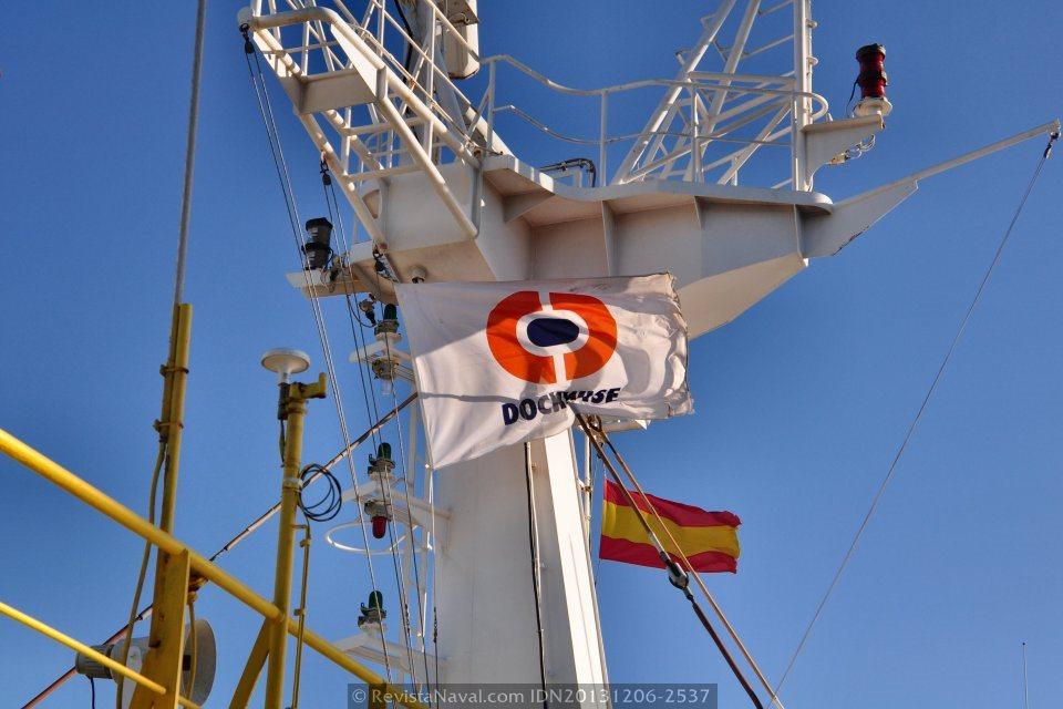 Insignia de la empresa especializada Dockwise, el Blue Marlin cederá el liderazgo que ejerce en la numerosa flota de buques de la empresa holandesa en favor del más grande y moderno Dockwise Vanguard (Foto: Rodrigo Díaz Castro/Revista Naval)