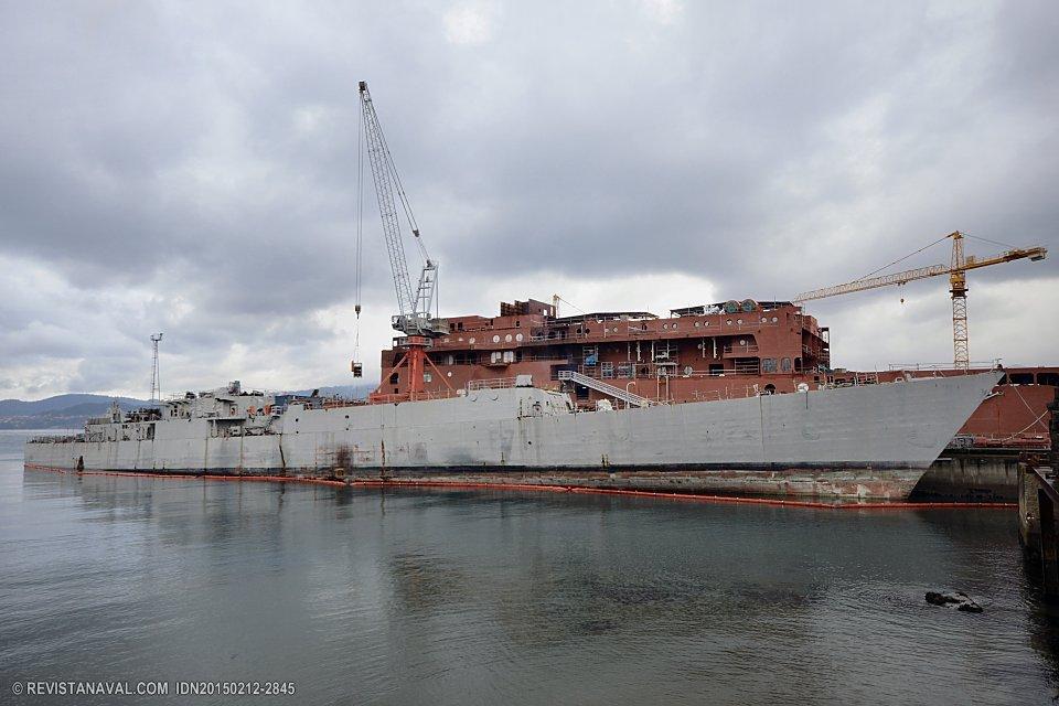 Casco de la fragata Baleares, desguazada en Vigo en 2015 (Foto: Revista Naval)