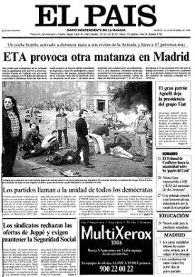La portada del diario El País del día 12 informaba de la tragedia del Puente de Vallecas