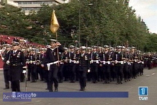Batallón de alumnos de la Escuela de Suboficiales de San Fernando y Escuela de Especialidades Antonio de Escaño de Ferrol (Fuente: TVE)