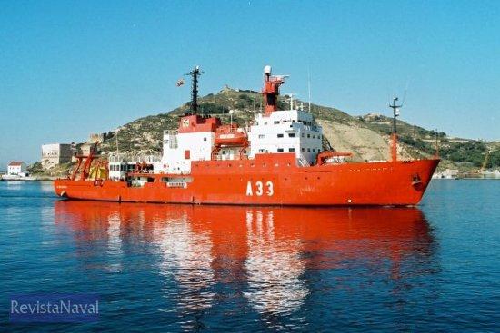 El BIO «Hespérides» entró a primera hora de la mañana en el puerto cartagenero (Foto: Diego Quevedo)