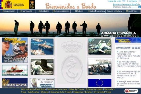 Aspecto del nuevo sitio web oficial de la Armada española (Foto: RevistaNaval.com)