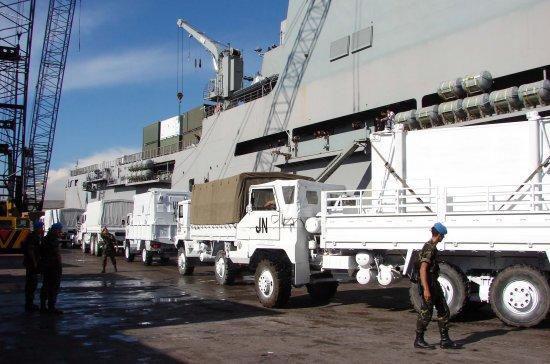 Vehículos de la Legión desembarcando en Líbano (Fuente: Ministerio de Defensa)