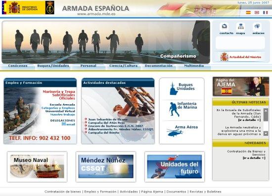 Portada del nuevo sitio web de la Armada española