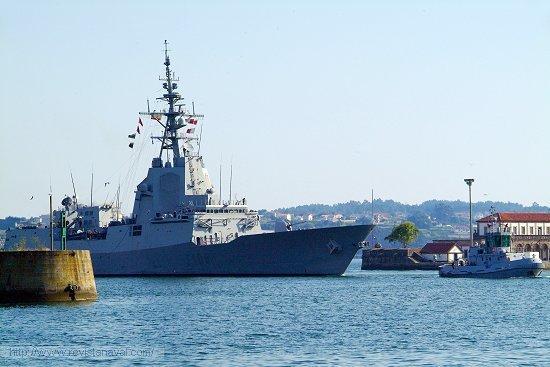El buque entró a las 19.00 horas en la dársena del Arsenal de Ferrol (Foto: Revista Naval)