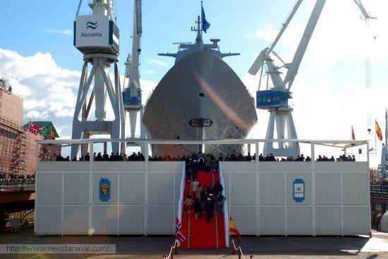 El cuarto buque de la clase «Fridtjof Nansen» fue lanzado el pasado viernes, 23 de noviembre de 2007 (Foto: Fernando Rivera/Revista Naval)