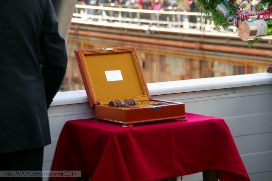 La maza y la trincha, elementos del ceremonial protocolario de las botaduras del astillero de Ferrol  (Foto: Fernando Rivera/Revista Naval)