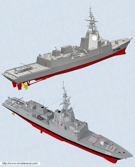 En la imagen, los diseños tridimensionales de la fragata F-105 (arriba) y tipo «Hobart» para la Armada australiana (abajo), basado en la fragata española. (Fuente: Navantia, AWD Alliance)