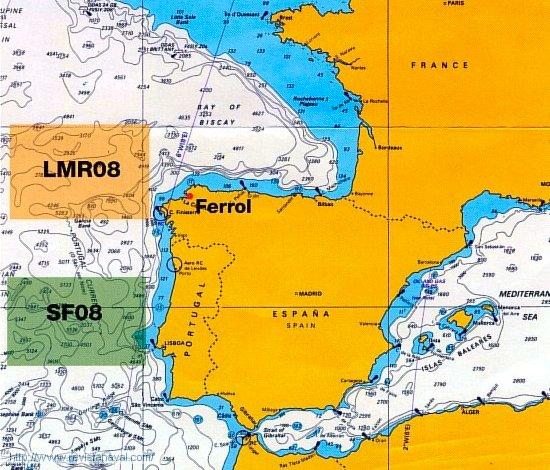 En el mapa aparecen señaladas las áreas de desarrollo de Loyal Mariner 08 (LMR08) y Swordfish 08 (SF08) (Fuente: OTAN)