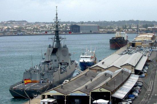 La fragata «Álvaro de Bazán» en el muelle Victoria de Fremantle (Foto: Fremantle Ports)