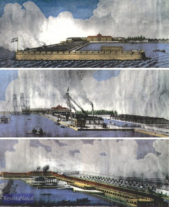 Serie litográfica de José Alonso Esquivel sobre el Arsenal de Ferrol (1850).