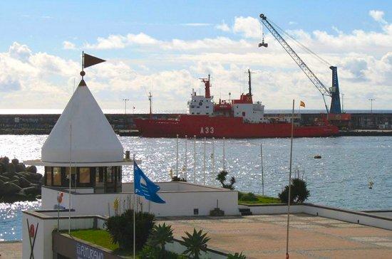 El BIO «Hespérides» en el puerto de Ponta Delgada, Açores (Foto: cortesía de Carlos Manuel Estrela)