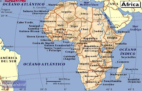 Mapa politico del continente africano (MapQuest.com)