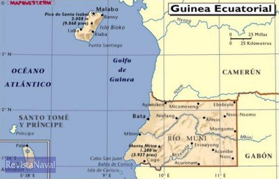 Mapa político de Guinea Ecuatorial y países limítrofes (MapQuest.com)