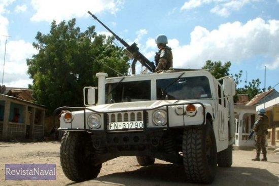 Una patrulla haciendo presencia en Fort Liberté (Foto: ORP Armada)