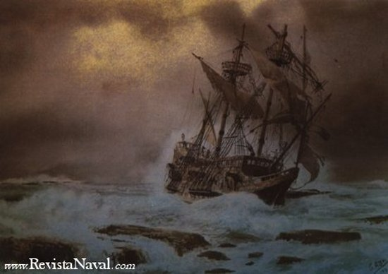 El fin de la Juno fue muy similar a este naufragio (Cuadro de G. de Aledo)