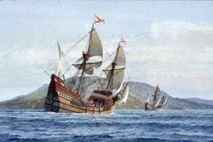 Flota de Juan Rodríguez Cabrillo. Pintura de Gordon Miller según una interpretación de Raymond Aker (Maritime Museum de San Diego)