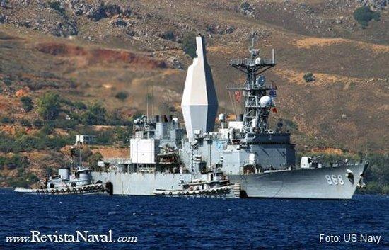 El destructor norteamericano USS Arthur W Radford sirvió como pionera plataforma de prueba de un mástil que oculta a la firma radar los equipamientos electrónicos, a la par que los protege de las inclemencias meteorológicas (AEM/S Advanced Enclosed Mast/Sensor).