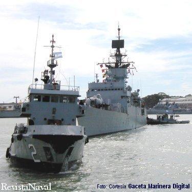 Las unidades del tren naval de Puerto Belgrano desplegaron una intensa actividad para atender a los navíos invitados (Foto: cortesía Gaceta Marinera Digital - http://www.gacetamarinera.com.ar/).