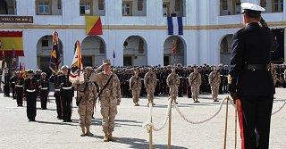 Recibimiento del contingente de la Infantería de Marina en el Cuartel del TEAR en San Fernando (Foto: Armada española)