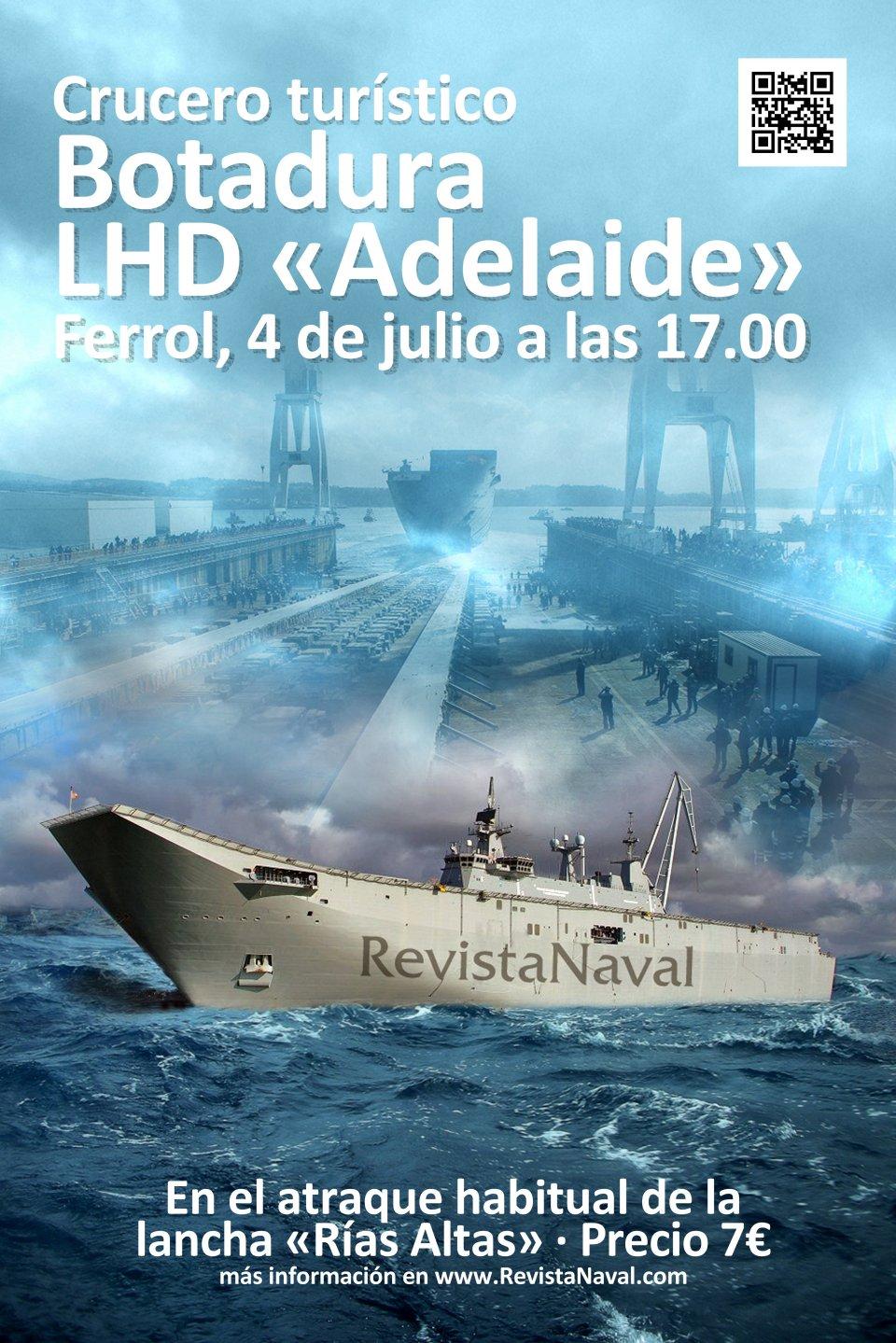 Crucero turístico por la ría de Ferrol para celebrar la botadura del LHD «Adelaide»