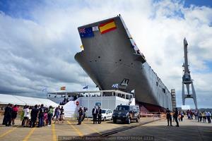 Aspecto de la grada número 3 del astillero de Ferrol a primera hora de la tarde del 4 de julio (Foto: Xoán Porto / Revista Naval)