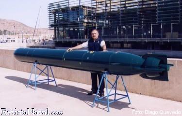 El autor de este artículo posa ante el torpedo TP2000 cedido a la Armada española para su evaluación (Foto: Diego Quevedo Carmona).