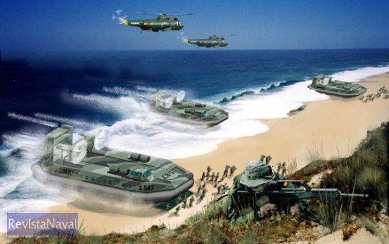 Impresión artística de una ola de VCA desembarcando tropas de Infantería de Marina (Imagen: Estudio Prada para RevistaNaval.com)