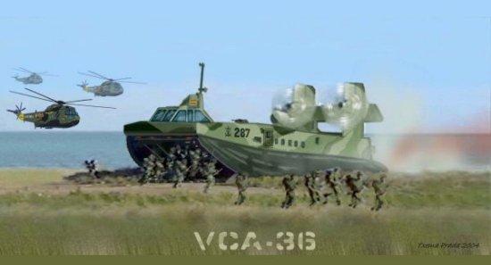 Desembarco de personal desde un VCA-36 (interpretación artística de Txema Prada para RevistaNaval.com)