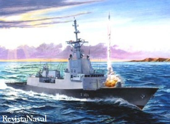 La impresión artística de la fragata F-100 lanzando un misil Standard SM-2 es ya una realidad