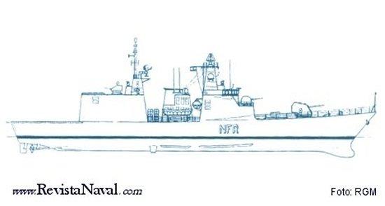 Perfil de la NFR-90, la profusión de artillería de origen italiano sugiere que se trata de una versión para este país (Revista General de Marina)