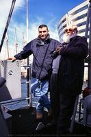 Javier Sánchez y Camil Busquets a bordo del patrullero Espalmador, para cubrir la salida del buque escuela Juan Sebastián de Elcano (Foto: Albert Campanera / Col. Javier Sánchez García)